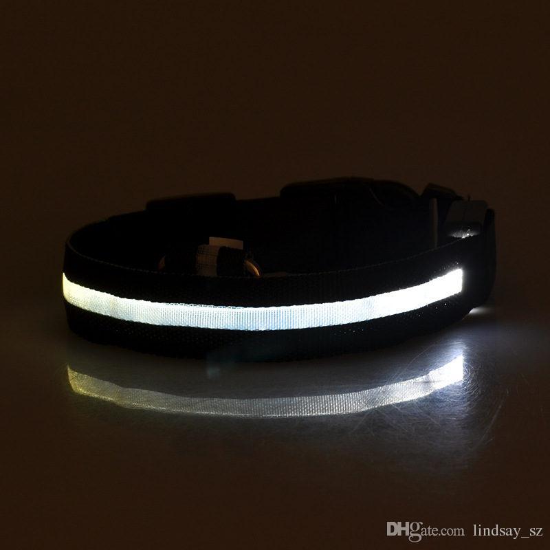 LED Nylon Dog Collar Dog Cat Harness Flashing Light Up Night Safety Pet Collars XS-XL Size Christmas Accessories fast