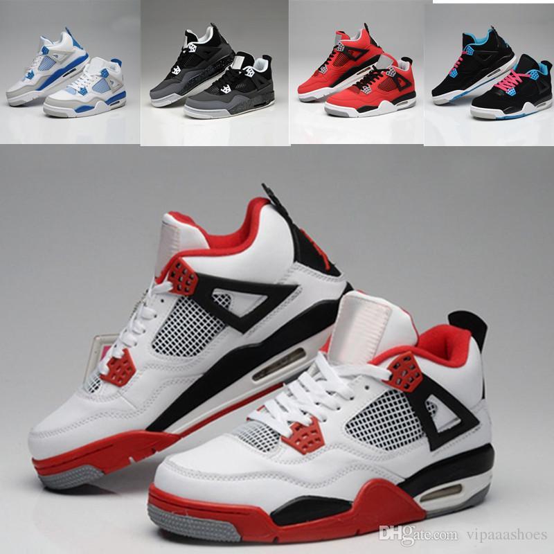 promo code c44c3 ff60d Nike Air Jordan 13 Cores New Arrivail 4s Men Zapatillas De Baloncesto  Premium Triple Black White Cement Red Suede Blue Metallic Gold 4s Sport  Sneakers US ...