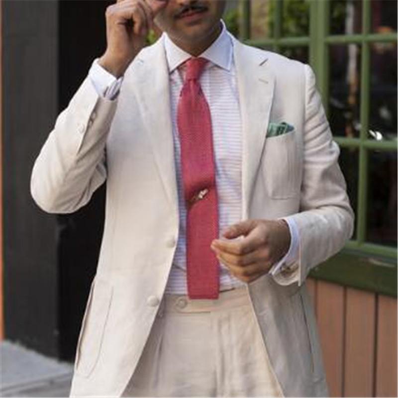 Acquista 2018 Abito Da Uomo In Lino Bianco Matrimonio Custom Made 2 Pezzi  Giacca + Pantaloni + Cravatta Smoking Da Sposa Summer Beach Groom Blazer A   120.73 ... d0049b0a429f