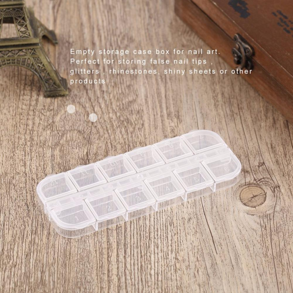 2Pcs 12 Compartment Empty Plastic Storage Case Rhinestones Dired Flower Nail Art Product Earring Jewelry Container Organizer Box