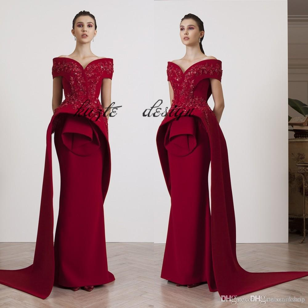 Azzi&Osta Fashion Burgundy Evening Gowns Beading Appliques Off ...