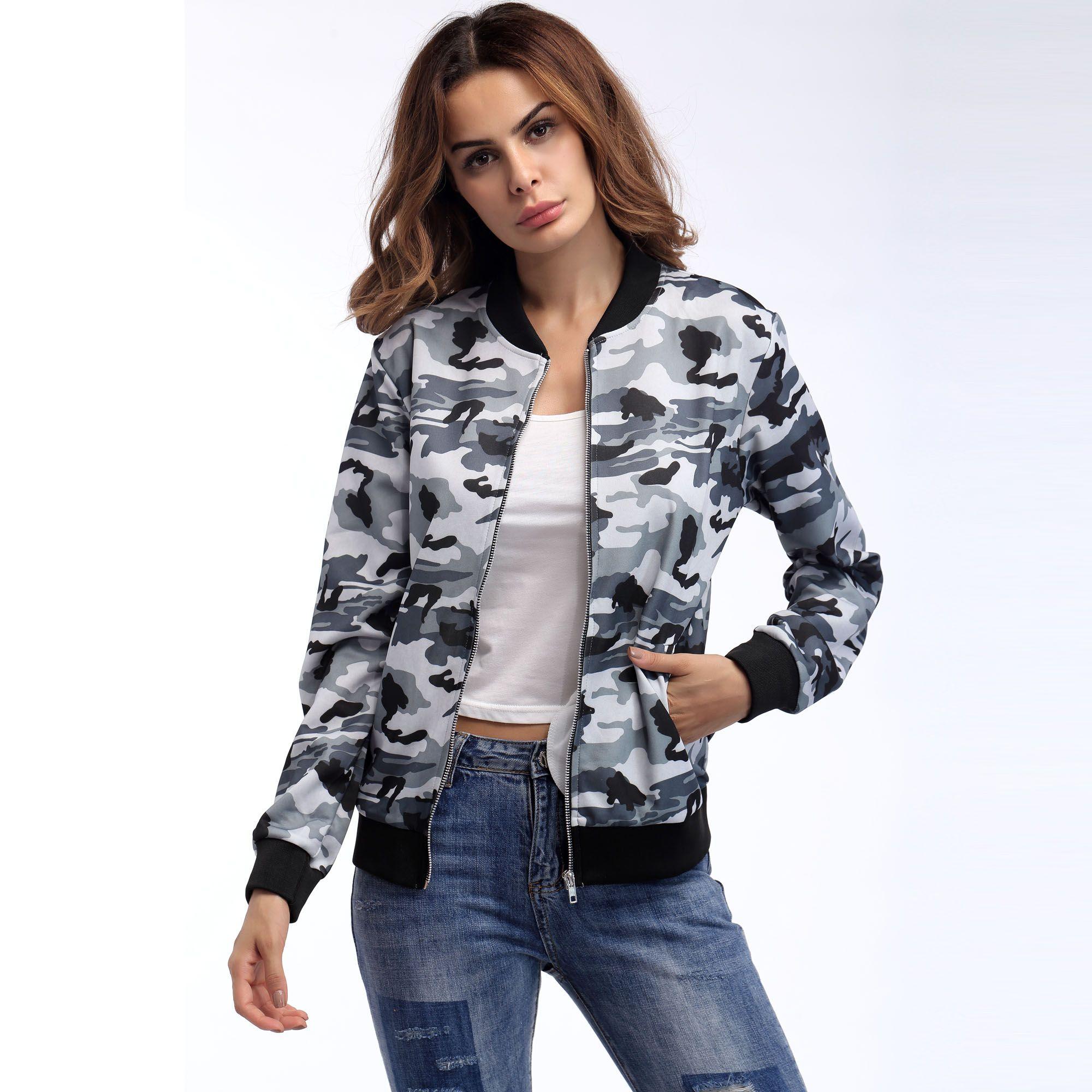 d5a751409 Nueva moda para mujer Cuello redondo, chaqueta de camuflaje, estilo  europeo, abrigo cómodo, 2 colores (camuflaje gris / camuflaje verde)