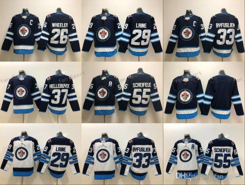 2019 25 Paul Stastny Winnipeg Jets Hockey Jerseys 55 Mark Scheifele 29  Patrik Laine 26 Blake Wheeler 33 Dustin Byfuglien Home Navy Blue Stitched  From ... 54e47c026