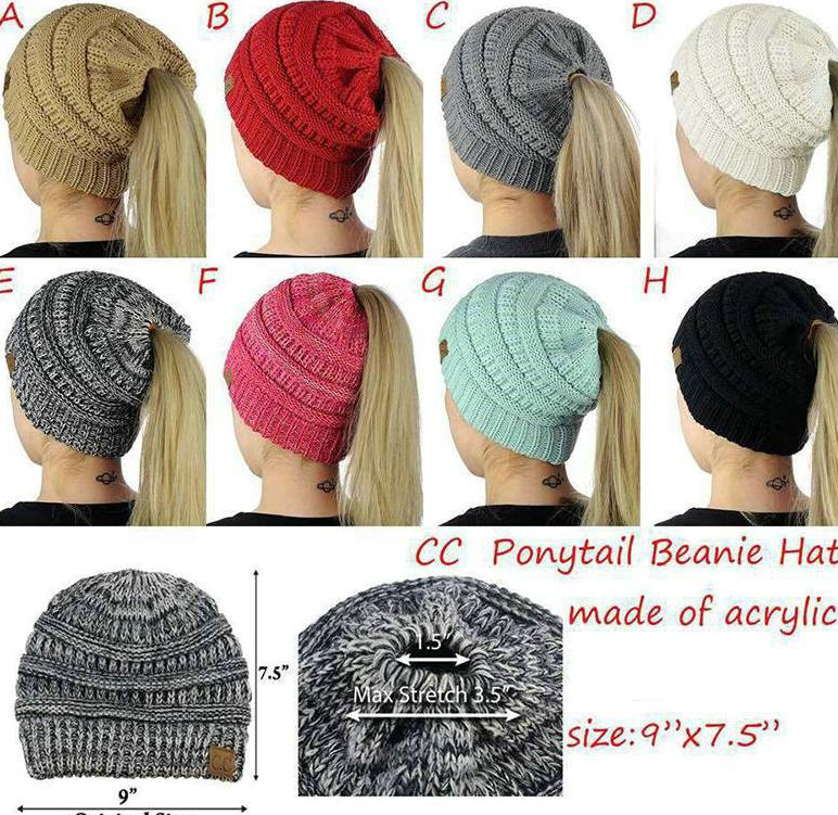 2018 Women Cc Ponytail Caps Cc Knitted Beanie Fashion Girls Winter Warm Hat  Back Hole Pony Tail Autumn Casual Beanies Crochet Hats From Sport outdoors 646f386c082