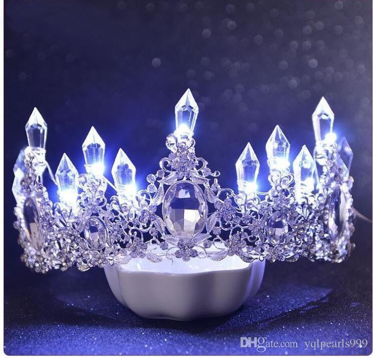Cabeza nupcial ornamento lujoso ambiente luminiscencia adornos de boda color coreano linterna accesorios del vestido de boda