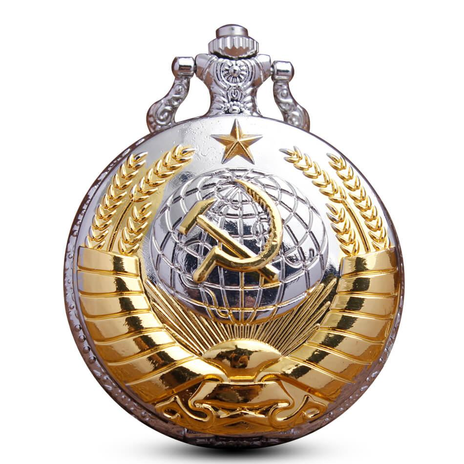 Russia Soviet Sickle Hammer Pocket Watch Chains Golden Bronze Quartz Pocket Watches Necklace Pendent Clock for Men Women Gifts