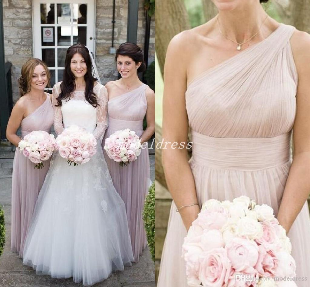 648e5549da86 One Shoulder Country Blush Bridesmaid Dresses Floor Length Draped Garden  Beach Wedding Guest Gowns Maid Of Honor Dress Plus Size Cheap Pastel Pink  ...