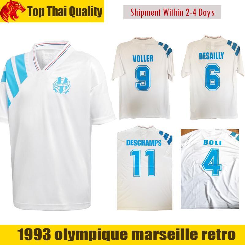 1993 olympique marseille retro commemorate football shirt deschamps papin boli desailly soccer jerse