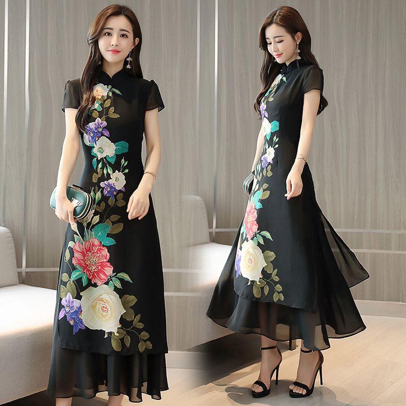 43cdbaf1baf 2019 2018 Summer Classic Style Cheongsam Dress Dress Antique Red Cheongsam  Printing Vietnam Aodai Ao Dai From Duanhu