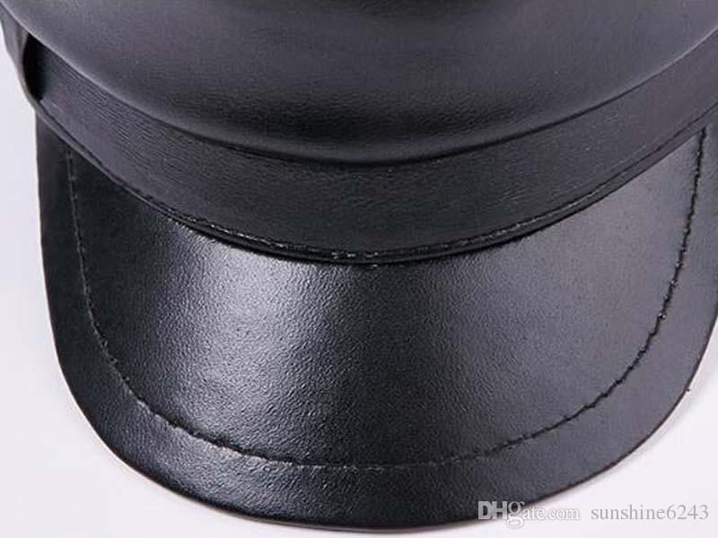 Nouveau mode en cuir de mouton en cuir militaire a atteint le chapeau de baseball en plein air pour hommes touriste bonnet plat livraison gratuite