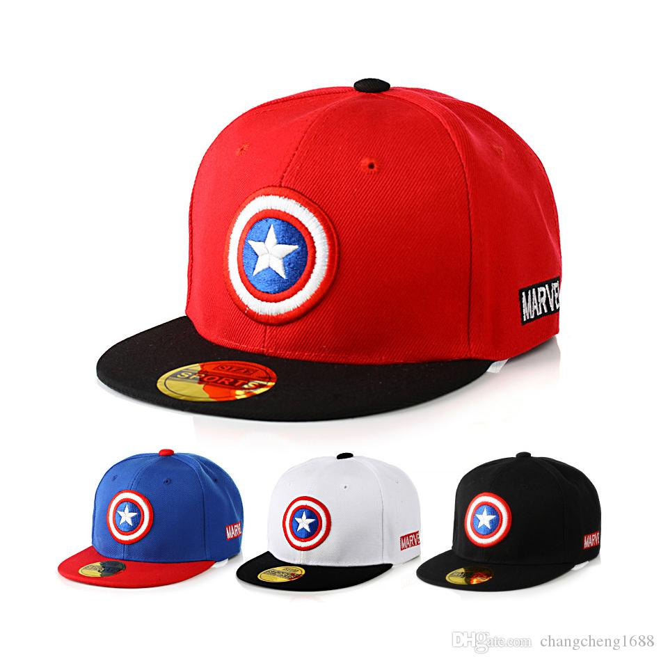 2019 Unisex Baby Children Flat Brim Baseball Caps Captain America Design  Fashion Adjustable Snapback Baseball Hats 1 4T MZ3724 E590 From  Changcheng1688 8728ab06bd8