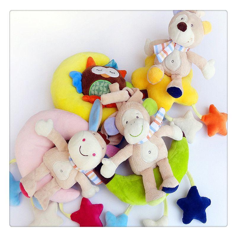 2019 Wholesale Baby Wind Up Musical Stuffed Animal Stroller Crib