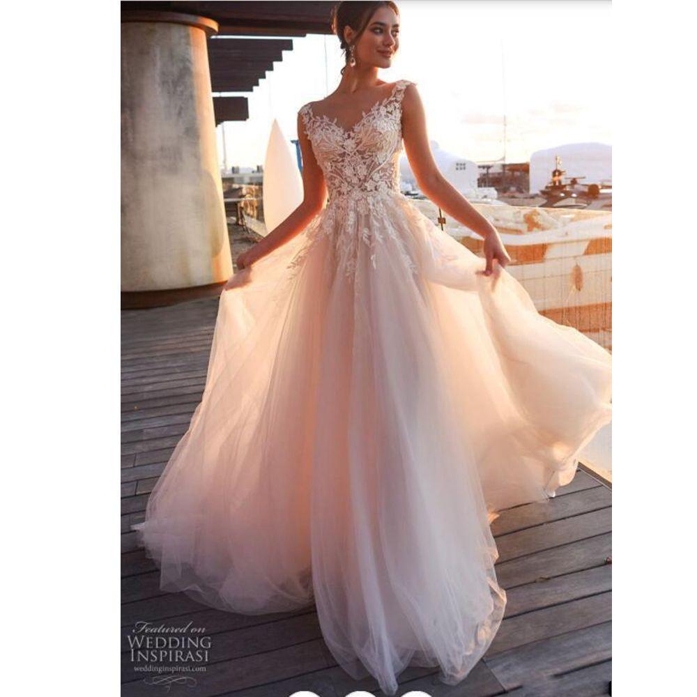 Boho Blush Pink Wedding Dresses 2017 Pretty 3d Flower Lace: Discount Classic Blush Pink A Line Beach Wedding Dress