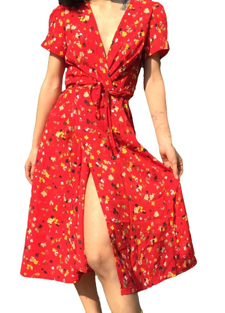 e6233db0ef Elegant Ladies Midi Dress Floral Print Deep V Split Short Sleeve Sexy  Summer Wrap Dress Women Slim Beach Holiday Dress 2018 Long Sundresses For  Women ...