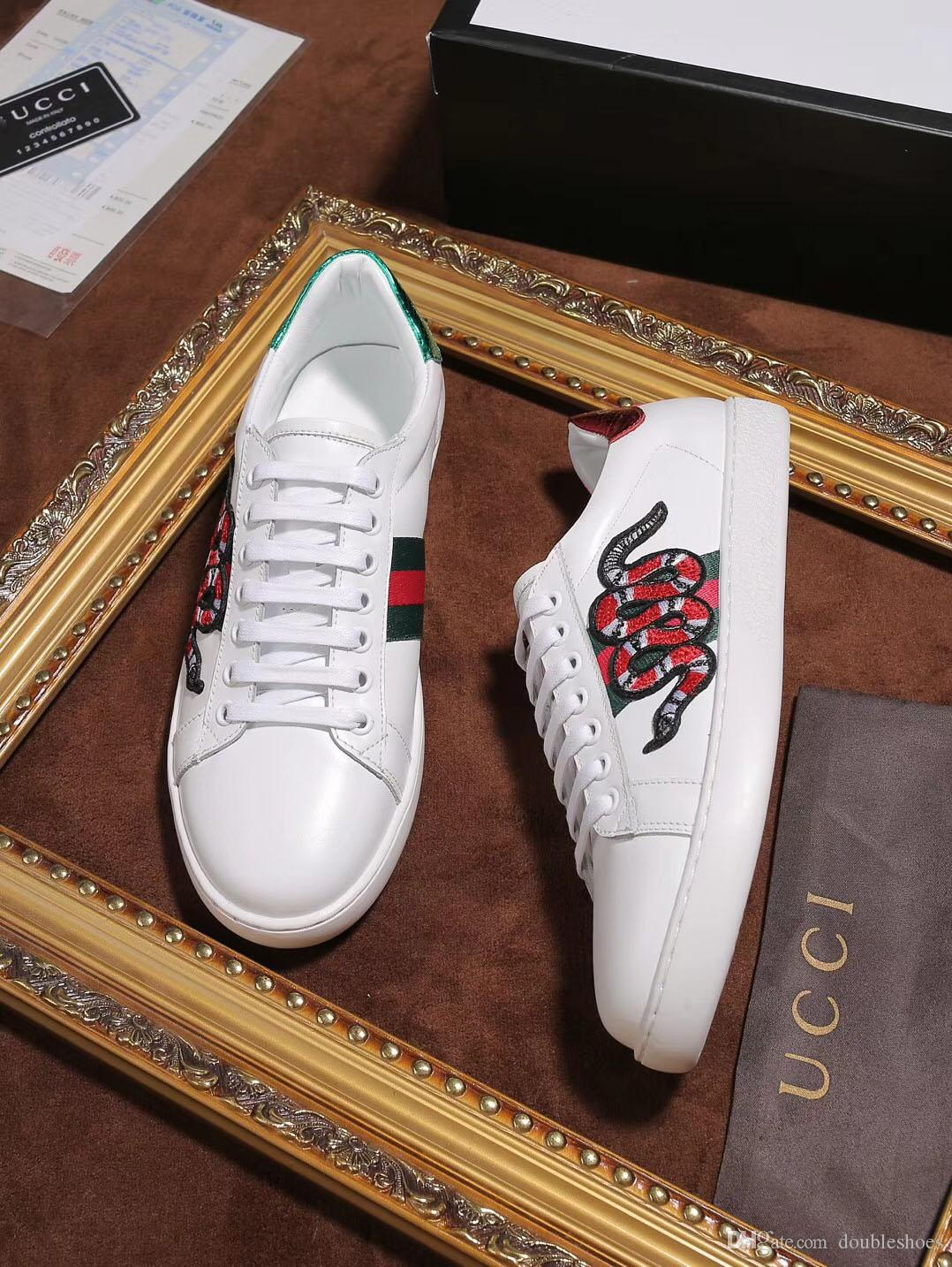 6e4bbd6e1aa2 Luxury designer men s high quality fashion snake embroidery small white  shoes of casual tennis sneakers shoes women s shoes big size shoe