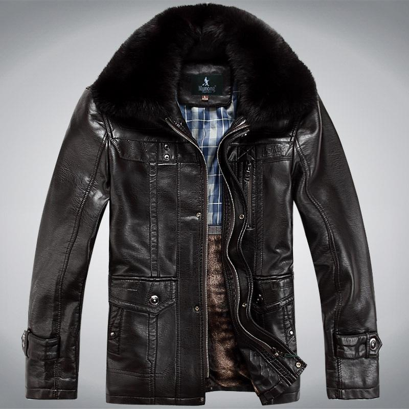 85b1acd1902 Wholesale-Faux Leather Coats Mens Winter Jackets Snow Coat Warm Biker  Motorcycle Jackets Outwear Overcoat Natural Fur Collar Plus Size 4XL Hair  Clips   Pins ...