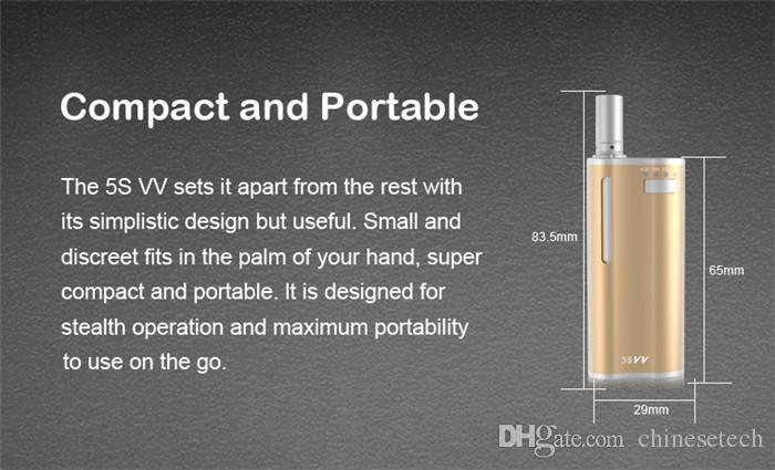 Kits de iniciación del vaporizador VS original 5S Precaliente 5SVV 2 en 1 650 mah Cera Aceite grueso Voltaje variable Vape Mod Vape Pluma Cartuchos de vidrio