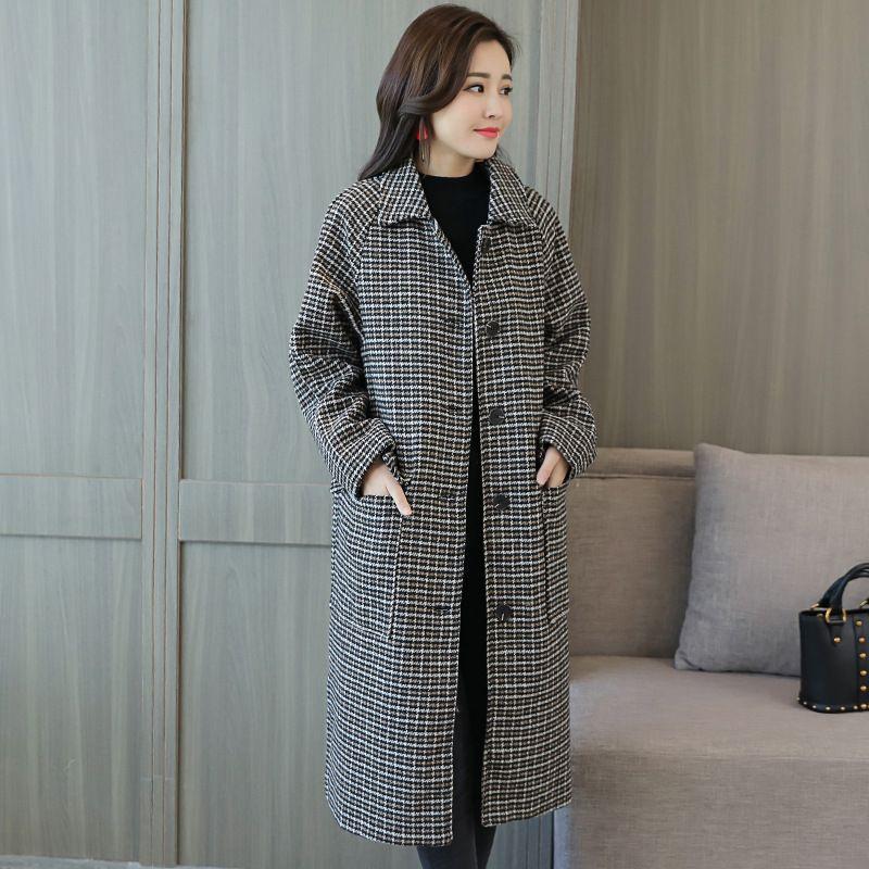 Mode frauen Neue Langen Herbst 2017 Mantel Plaid Mantel Winter Designer Wolle l3TKcF1uJ5