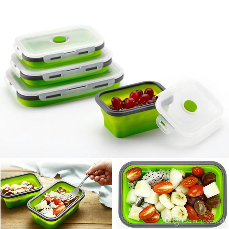 Silicone Collapsible Bento Lunch Box BPA Free Folding Silicone Food
