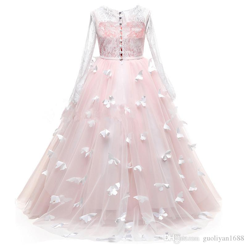 Pretty Flower Girl Pageant Dresses 2019 Butterfly Train Kids Graduation Gowns Tulle Lace Long Sleeves Holy Communion Dresses