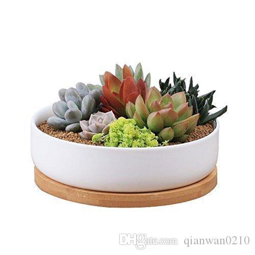 2019 Modern White Ceramic Round Succulent Cactus Planter Pot With