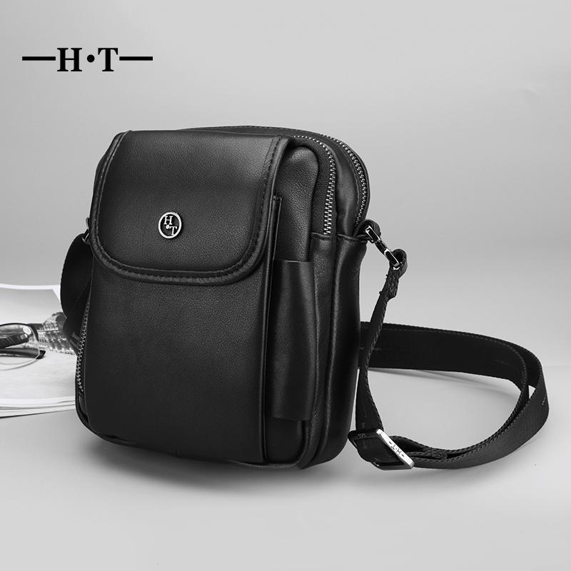HT Men S Genuine Leather Crossbody Bags Mans Small Shoulder Messenger Bag  Luxury Handbag Single Mini Bag Black Brand New Bolsos Womens Bags Camo  Purses From ... 1046ea9530