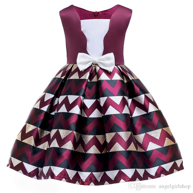 flower girl dress Summer England Style Bow Stripe Tutu Princess Dress for Girls Baby Forma Girls Clothes Ball Gown for Girl Dress