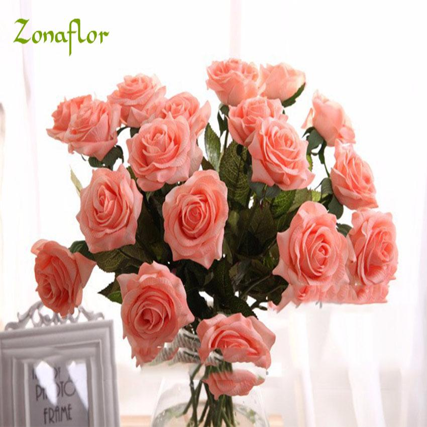 Real touch silk zonaflor artificial rose 2017 new valentines day real touch silk zonaflor artificial rose 2017 new valentines day home decor real touch silk flowers wedding bouquet real touch silk flowers flower wedding mightylinksfo