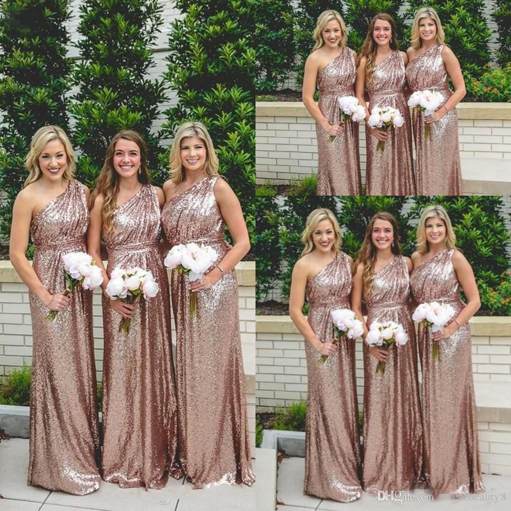 Rose gold sequin bridesmaid dresses 2018 one shoulder formal maid of rose gold sequin bridesmaid dresses 2018 one shoulder formal maid of honor dresses pleats a line long modest plus size party prom gowns champagne bridesmaid ombrellifo Images