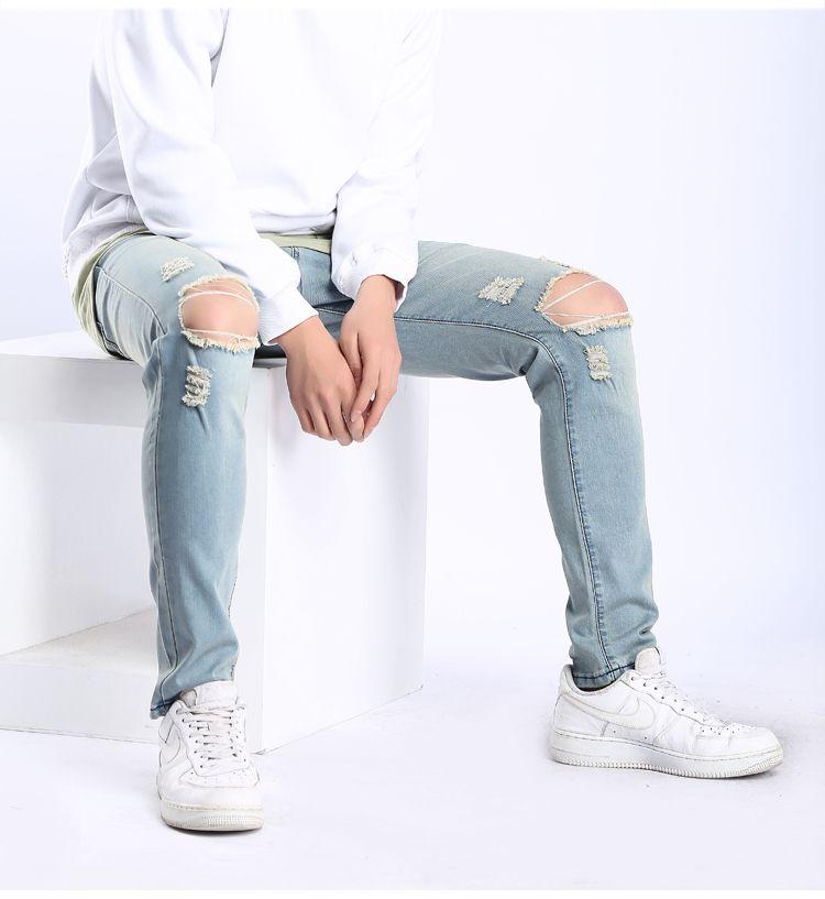 West Jeans Knee Big Holes Design Slim Fit Long Pants Denim Blue Vintage Washed High Street Trousers