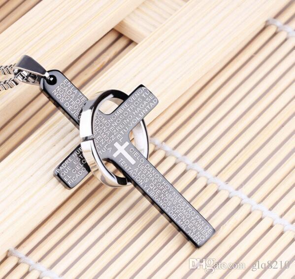 Vendite calde delle collane degli uomini d'acciaio di titanio di modo della collana del singolo cerchio dell'incrocio della bibbia Nuovo /