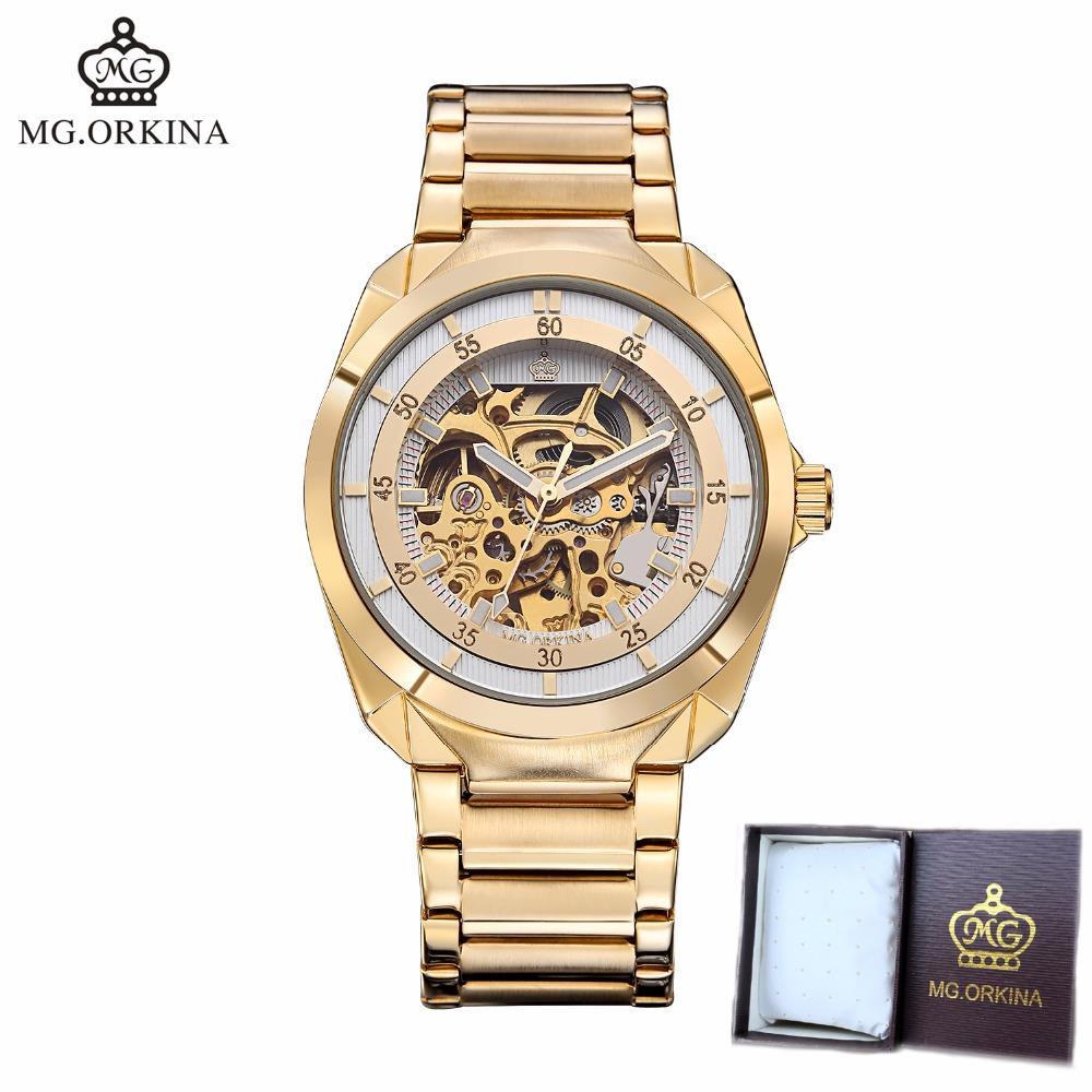 33e322dae051 Compre ORKINA Reloj Hombres Esqueleto Automático Reloj Mecánico Oro  Esqueleto Vintage Hombre Hombres De Acero Inoxidable Top Marca De Lujo A   43.4 Del ...