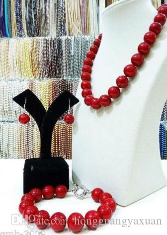 Piuttosto 12mm Coral Red South Sea Shell Collana di perle Orecchini un set