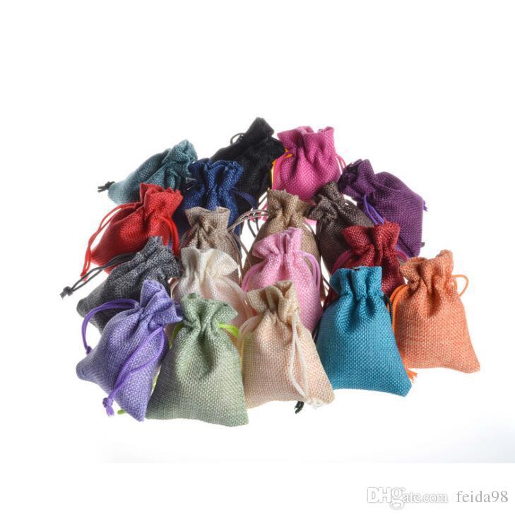Mini pochette en toile de jute cordon de toile de chanvre de Hesse petit emballage cadeau sac bague de mariage bijoux pochette de rangement GA23