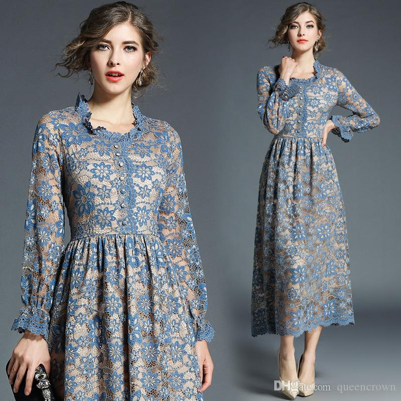 2e04c532243 2019 Autumn Winter Fashion Lace Women Dresses Hollow Lace Party Long Dresses  Light Blue Dresses For Christmas Party From Queencrown