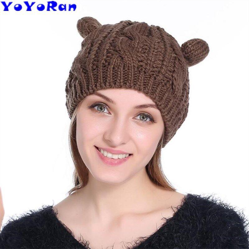 893e1e04eac YOYORan Cat Ears Women Hat Knitted Acrylic Warm Winter Beanie Caps Crochet  New Cartoon Cute Bonnet Homme Gorro Beanie Hats For Men Black Beanie From  Yongq