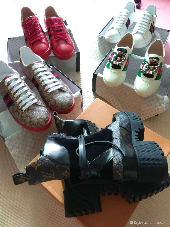 Compre 2018 Dhl Entrega Gratuita De Luxo Designer De Calçados Femininos De  Couro De Alta Qualidade E Solas Resistentes Conforto Ventilação De Lazer  Senhora ... 5c1fe68fa58