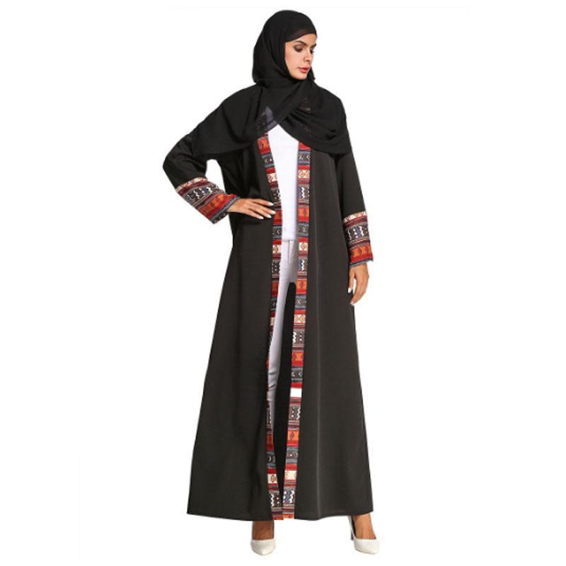 Acquista Abito Lungo Cappotto In Chiffon Nero Cardigan A Contrasto India  Pakistan Musulmano 5faf91f0ea0