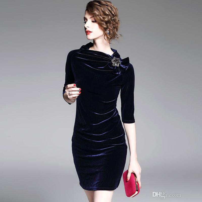 a40c2b78d14d6 Satın Al Kadın Kadife Elbise Yaz 2018 UCUZ Zarif Lady Çalışma Elbiseler  Ofis F0700 Simplee Iş Elbise 1/2 Kollu, $34.78 | DHgate.Com'da