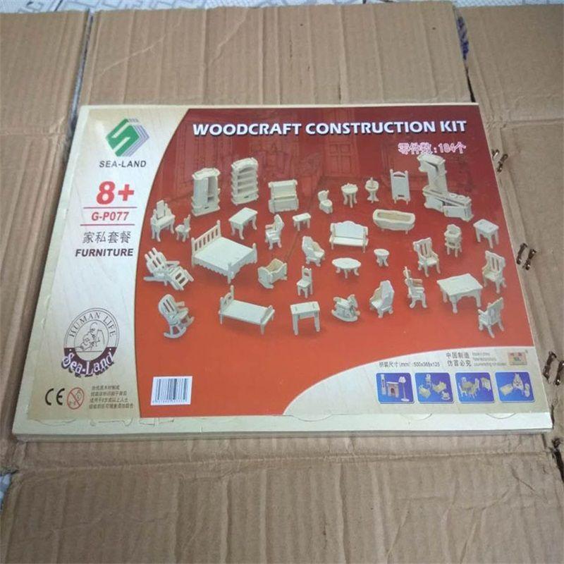 Jigsaw Puzzle Dollhouse Woodcraft Construction Kit Toy Mini Doll House DIY Furniture Models High Quality 6 87ap C