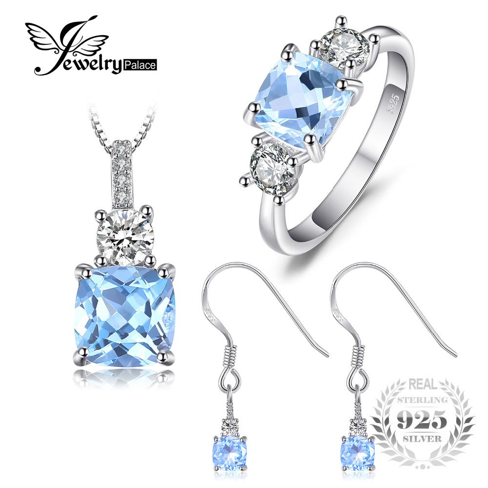 b861622a892a Compre JewelryPalace Classic 6ct Topacio Azul Genuino 3 Piedra Anillo  Colgante Collar Pendientes De Gota Sistemas De La Joyería Plata De Ley 925  45cm A ...