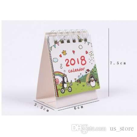 Mini Calendario.1 Set Cute 2018 Mini Calendario De Escritorio Organizador De Dibujos Animados Calendario Lista De Tareas Diario Escritorio Calendario Escritorio