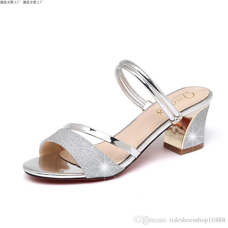 Acheter Sandales Femme 2018 Nouveau Sandales Femme 6.5 CM Peep Toe Talons  Hauts Sandales Femmes Mules Argent Chaussures Pour Femmes Pantoufles Femal  ... 76edc541e729