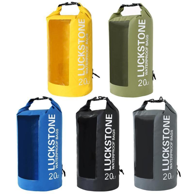 e9930e59e266 2019 LUCKSTONE 5L 10L 20L Water Sports PVC Drift Backpack Outdoor Waterproof  Transparent Window Lightweight Diving Floating Dry Bag From Mangosteeng
