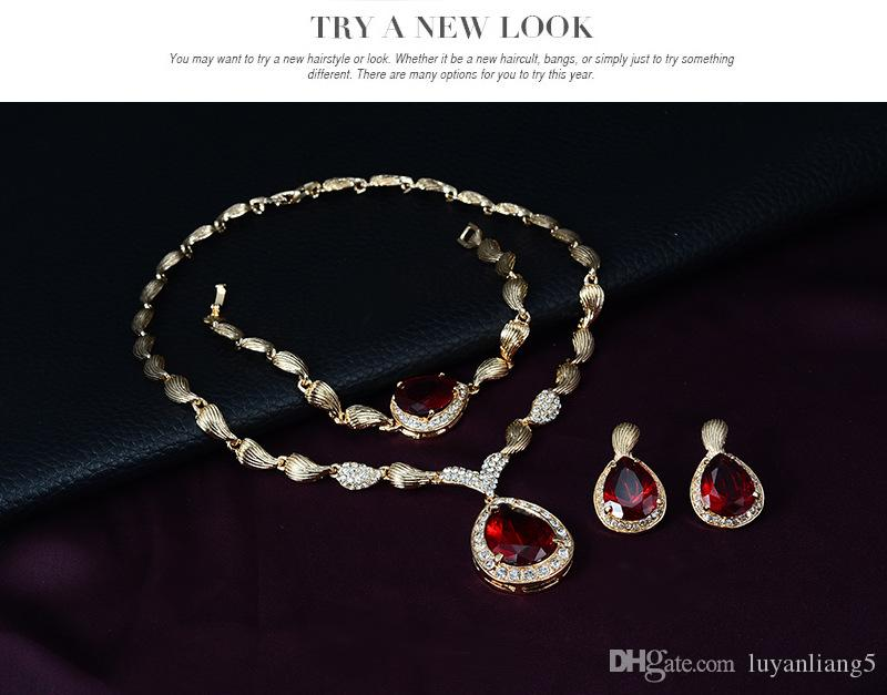 Fashion Red Water Drop Choker Necklace Earrings and Bracelet Ring Ethnic Brids Wedding Gift Gold Plated Big Crystal Jewelry Sets Women Maxi