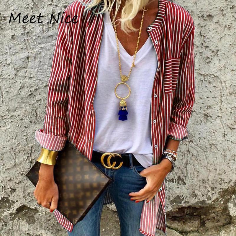 a6c4e371c8 Compre Mulheres Longas Cardigan Blusas Moda Botão Listrado Camisas Blusa  Plus Size Vermelho Preto Verde Azul Branco Stripe Blusa Feminina De  Wqasysos