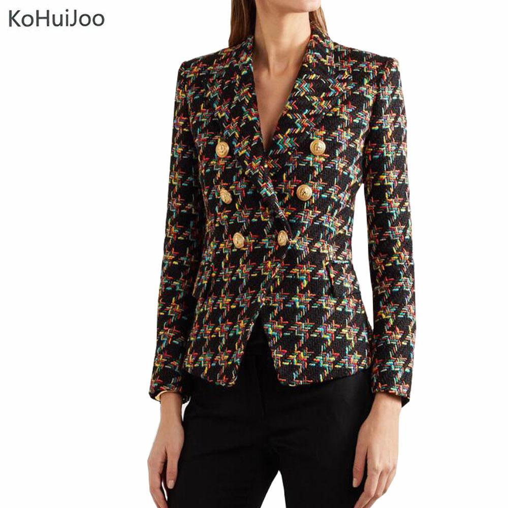 97f7bebd 2019 KoHuiJoo Golden Button Plaid Tweed Blazer Jacket Women Slim Fashion  Long Sleeve Elegant Office Lady Blazer Coat Runway 2018 S18101303 From  Jinmei03, ...