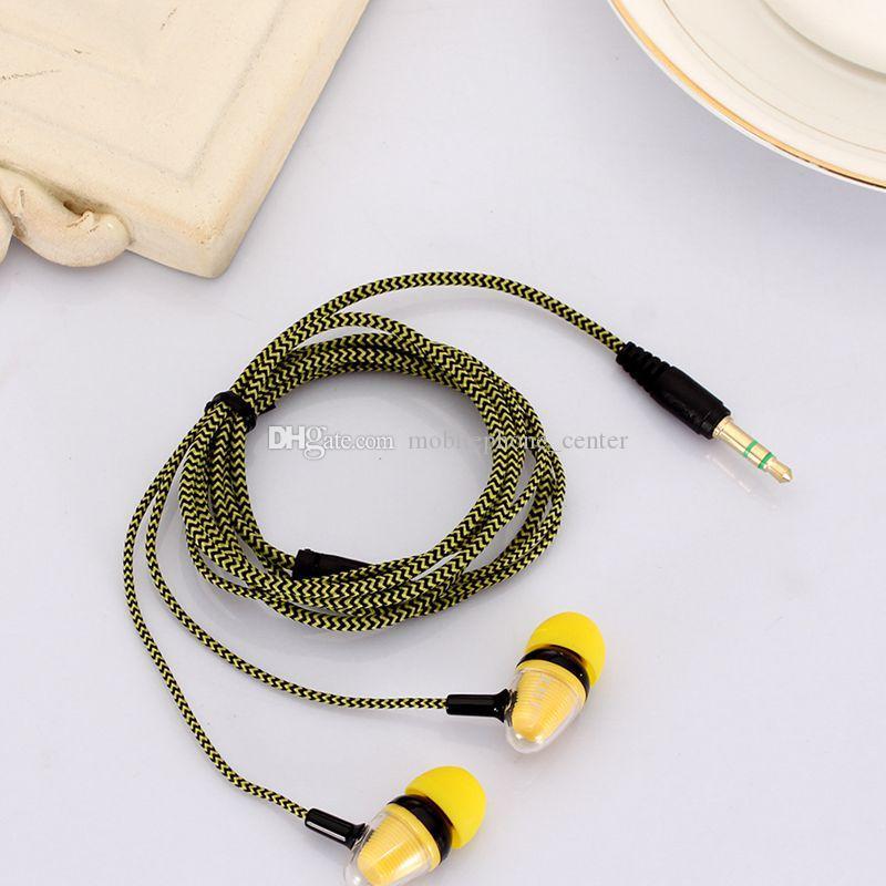neue 3,5 mm In-Ear Stereo geflochtene Ohrhörer Kopfhörer für iPhone für Samsung Galaxy Handy