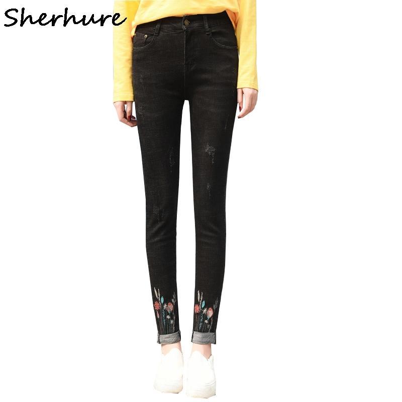691661cdd7d 2019 2018 Plus Size Jeans Woman Slim Women Jeans Flower Embroidery 6XL For  Women Big Size Black Denim Pencil Pants From Fabian05