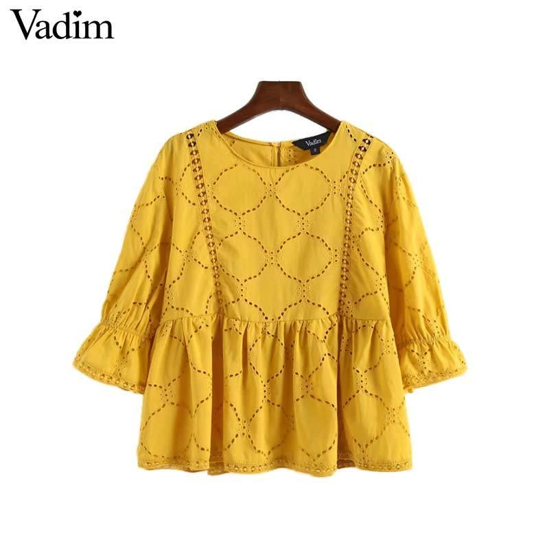 30328b610f Vadim women sweet hollow out embroidery blouse three quarter sleeve O neck  pleated shirt solid ladies casual tops blusas LA096Y1882504